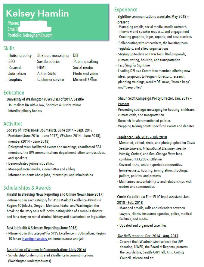 Kelsey Hamlin's redacted resume