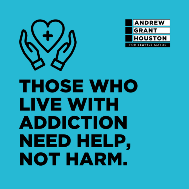 Those who live with addiction need help, not harm. [img: AGH logo in the upper right, a pair of hands hold up a floating heart with a plus-sign in the middle, and below it is black text, all over a blue background]