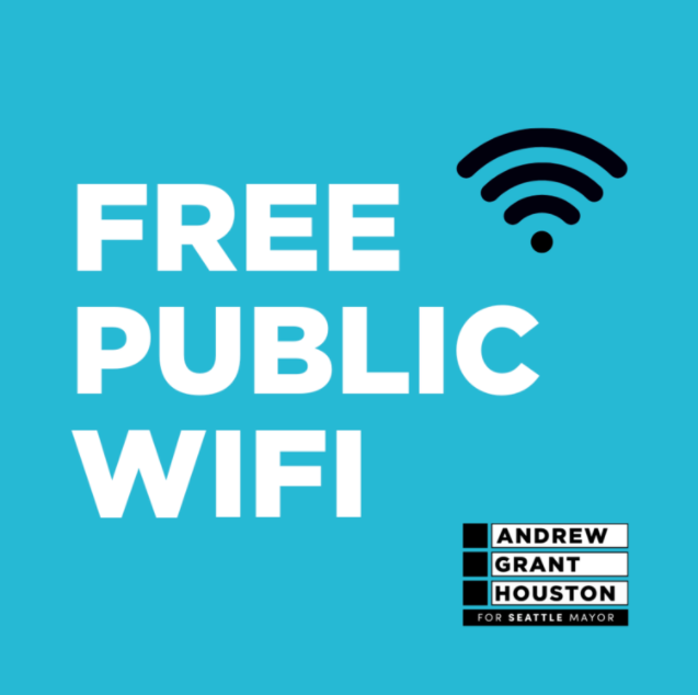 """Bold text on a sky blue background reads: """"Free Public Wifi"""" A symbol for wifi signal appears to the top right of the text with the candidate's campaign logo at the bottom right."""