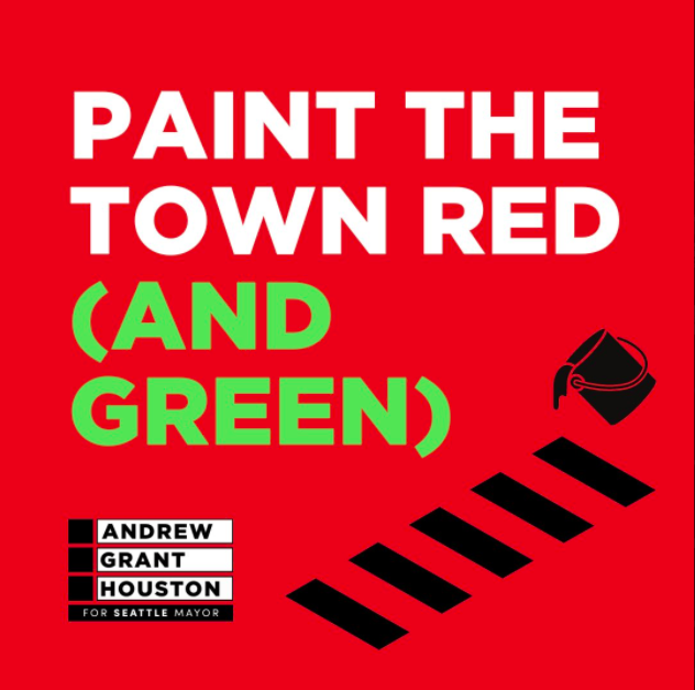 """A red graphic reads """"paint the town red (and green)"""", the """"and green"""" appears in a bright green color. Black vector images depict a paint bucket pouring and lines on a road to the right of AGH's logo."""