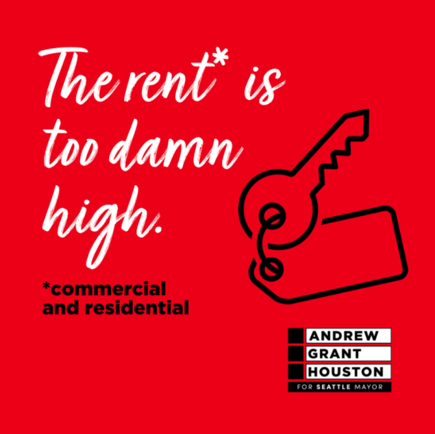 """A red graphic reads """"The rent* is too damn high."""" in white cursive-like font with smaller, simpler black words below it saying, """"commercial and residential."""" A key sits to the right of the font, just above the AGH mayoral logo"""