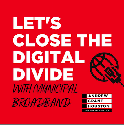 Let's close the digital divide with municipal broadband [img: ethernet plugging into a stylized globe in outline stylization, directly above the black and white AGH logo