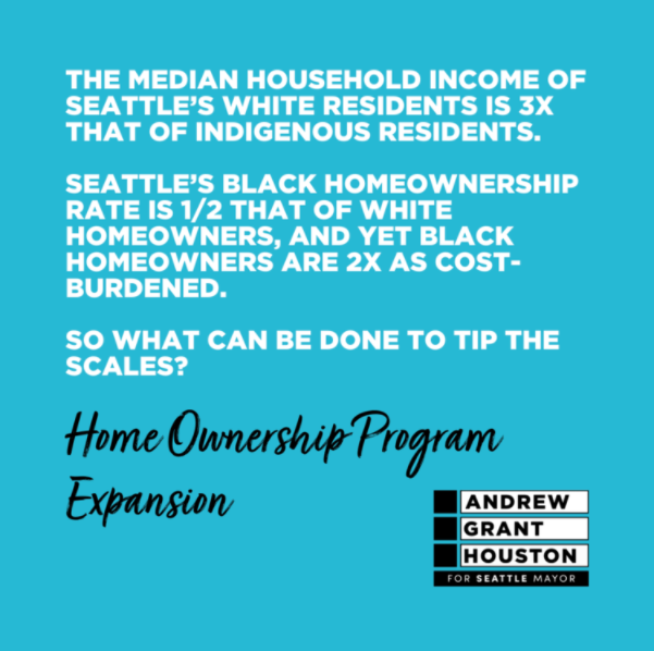 The median household income of Seattle's white residents is 3 times that of indigenous residents. Seattle's Black homeownership rate is half that of white homeowners, and yet Black homeowners are twice as cost-burdened. What can be done to tip the scales? Home ownership program expansion.